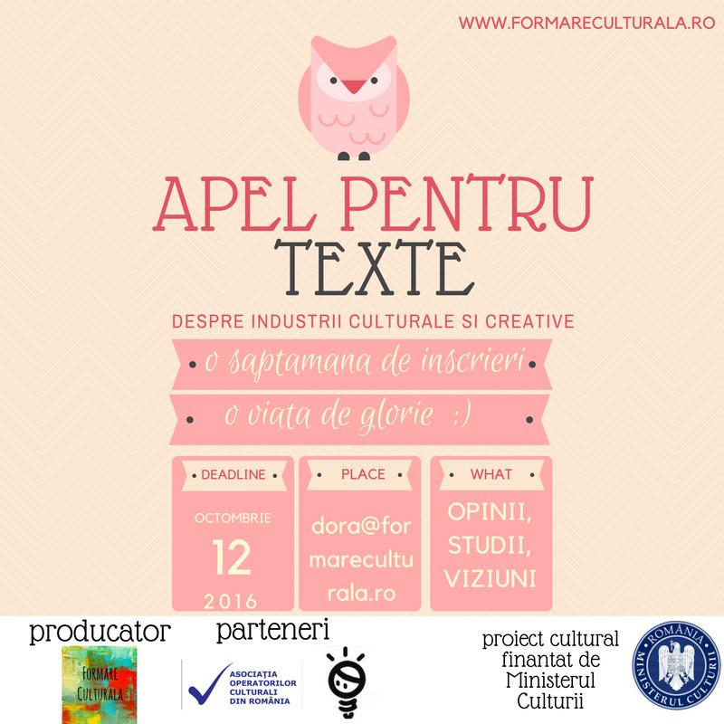 Apel pentru texte despre industrii culturale și creative românești